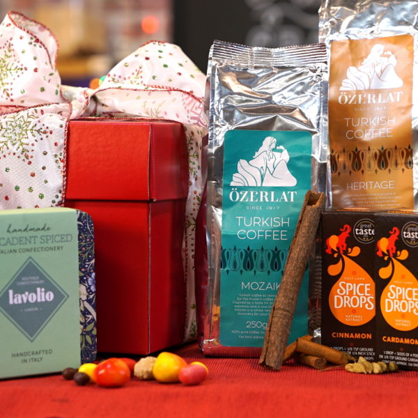 Gift Hamper for Coffee lovers (Ozerlat Turkish coffee, Spice Drops and Italian Boutique Confectionery)